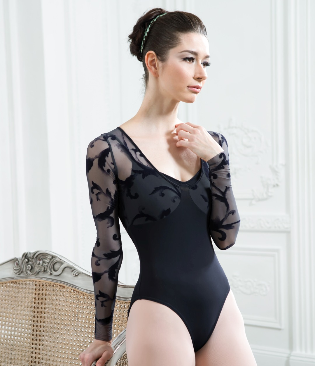 Leotard with lace mesh