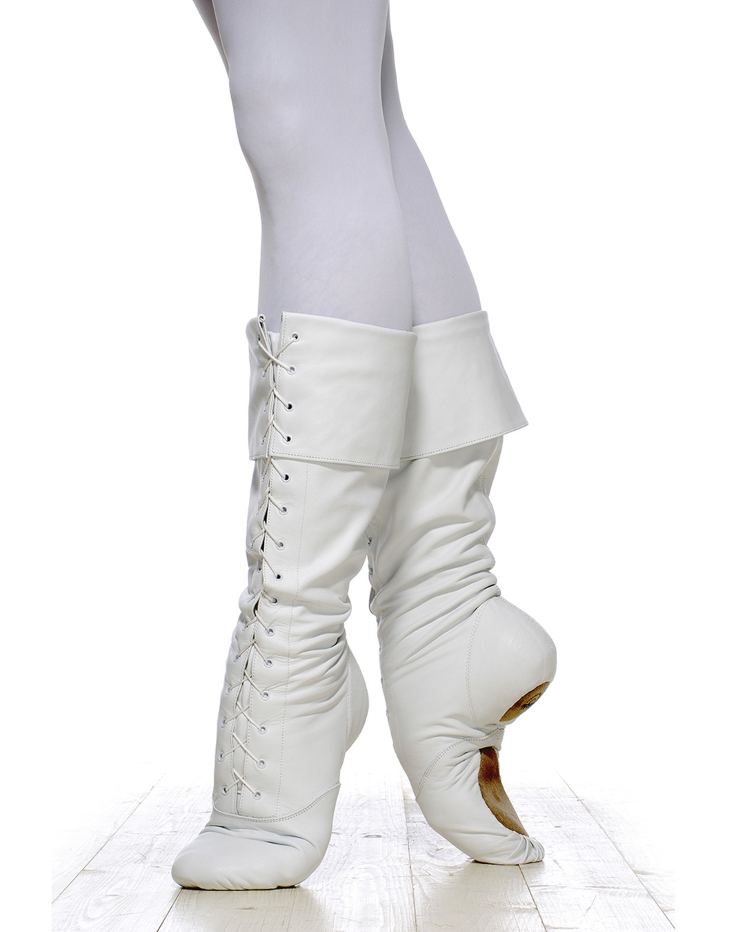 Laced up male ballet boot with pleats and laces