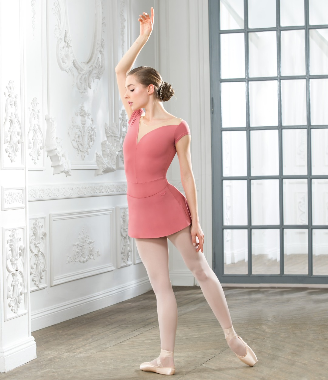 Leotard with nude mesh